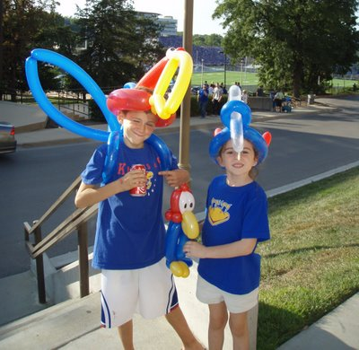 Kids in back of the Union sporting their Jayhawk balloons.